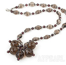 Wholesale Nice Round Garnet And Multi Smoky Quartz Flower Pendant Necklace