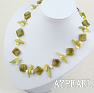 Wholesale 17.5 inches white pearl and lemon jade necklace with moonlight clasp
