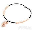 Nice 7-9Mm Natural Pink Freshwater Pearl Cluster Pendant Necklace With Black Velvet
