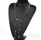 51 inches pearl and multi color stone long style necklace