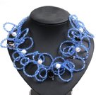 Speical Design Beautiful Natural White Pearl Smoky Quartz Blue Crystal Statement Chunky Necklace