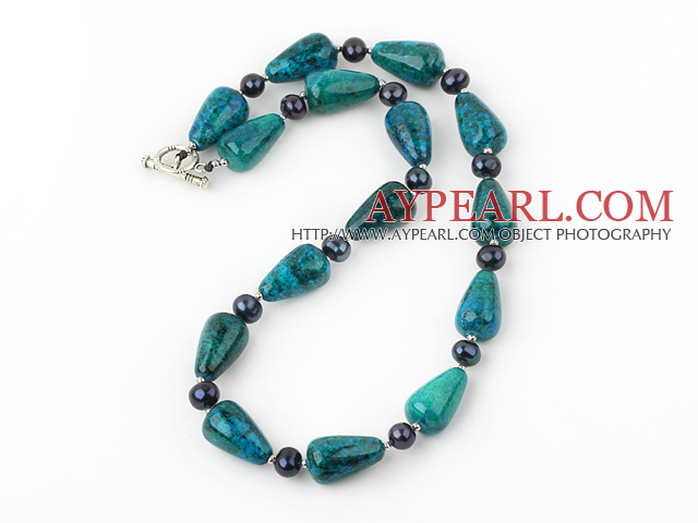 18 inches pearl and phoenix stone necklace with toggle clasp