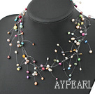 Wholesale 17.5 inches fashion seven colored pearl necklace