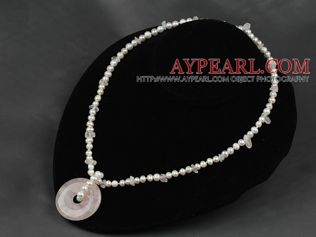 4mm pearl and rose quartz pendant necklace with lobster clasp