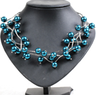 Trendy Style Multi Strand Peacock Blue Seashell Beads Twisted Necklace With Bending Alloyed Tube