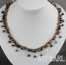 Black Pearl and Clear Crystal Necklace with Brown Cord