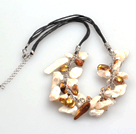 New Arrival Brown and White Color Teeth Shape Pearl Necklace with Lobster Clasp