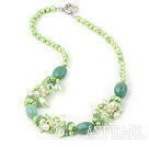 Wholesale 17.5 inches pearl crystal and turquoise necklace with moonlight clasp
