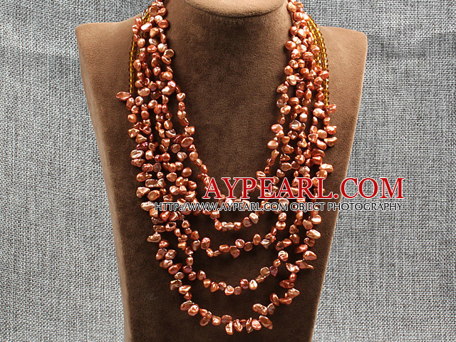 Elegant Five Layer Natural Brownish Red Rebirth Pearl Crystal Party Necklace