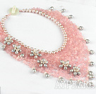 Elegant Style Pink Series Freshwater Pearl and Rose Quartz Party Flower Bib Necklace