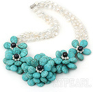 Wholesale Big Style White Freshwater Pearl and Big Turquoise Flower Party Necklace