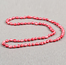 Simple Fashion Long Style Natural Watermelon Red Baroque Pearl Necklace