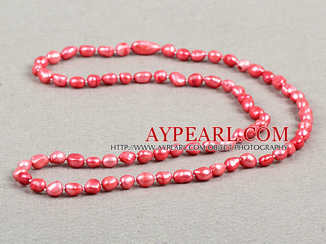 Natural style simple mode Long pastèque rouge baroque collier de perles