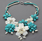 Wholesale 2013 Summer New Design Turquoise and Howlite and White Shell Flower Necklace