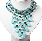 Amazing Blue and Gray Teardrop Crystal Tassel Party Necklace