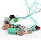 Beautiful 17.5 Inches Multi Color Stone Green Threaded Necklace