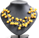 Trendy Style Multi Strand Bright Yellow Seashell Beads Twisted Necklace With Bending Alloyed Tube