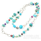 pearl and turquoise and metal rings long style necklace