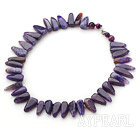 Single Strand Fillet Triangle Shape Burst Pattern Purple Agate Knotted Necklace