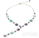 Wholesale crystal and rainbow fluorite Y shaped necklace with lobster clasp