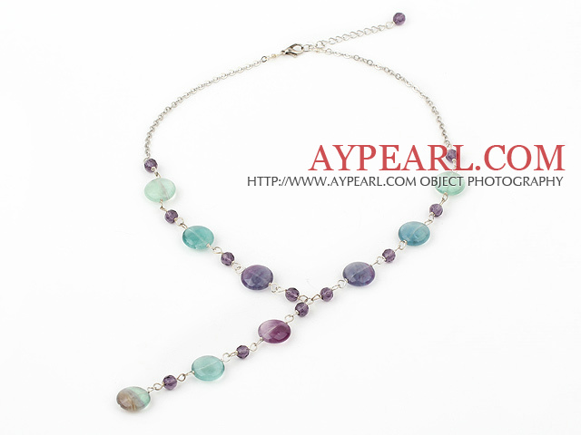 crystal and rainbow fluorite Y shaped necklace with lobster clasp
