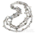 Three Strand Flashing Stone and Gray Pearl Crystal Necklace
