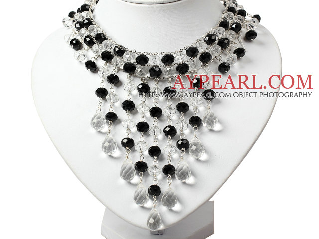 Amazing Black and White Teardrop Crystal Tassel Party Necklace