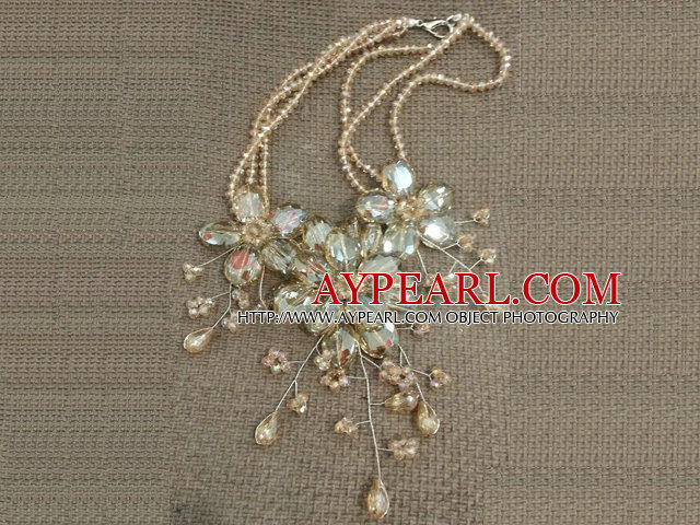 Gorgeous Statement Multi Layer Crystal Flower Party Necklace