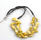 New Arrival Golden Yellow Color Teeth Shape Pearl Necklace with Lobster Clasp