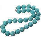 18 inches 16mm turquoise beaded necklace with lobster clasp