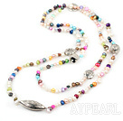 59 inches multi color pearl long style necklace