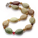 three color jade necklace with spring ring clasp