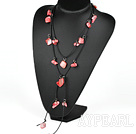 Wholesale fashion long style red pearl and shell necklace