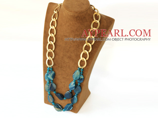 fashion blue agate necklace with golden color metal chain