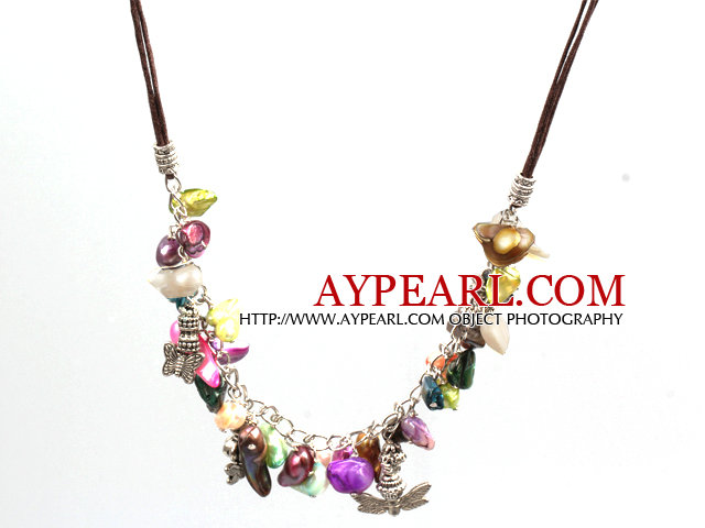 New Arrival Multi Color Teeth Shape Pearl Necklace with Lobster Clasp and Tibetian Silver Accessories