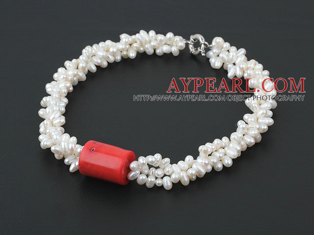 3 strand real white fresh water pearl and coral necklace with moonlight clasp