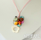 17.7 inches multi color shell pearl pendant necklace with extendable chain