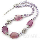 Dark Purple Pearl and Purple Stripe Agate Necklace