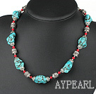 Wholesale 18 inches blue turquoise and red alaqueca necklace with moonlight clasp