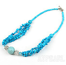 17.5 inches blue turquoise necklace with toggle clasp