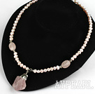 Wholesale Pink Freshwater Pearl Necklace with Rose Quartz Pendant ( Irregular Shape )