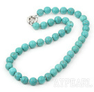Wholesale 17.5 inches 10mm blue turquoise beaded necklace with moonlight clasp