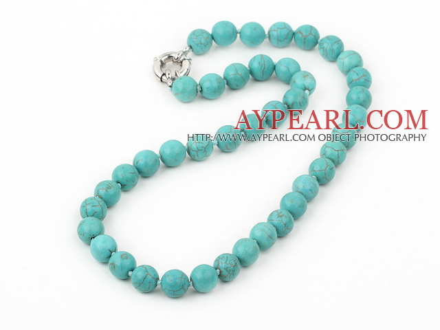 17.5 inches 10mm blue turquoise beaded necklace with moonlight clasp