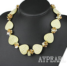 Wholesale 18 inches pearl crystal and lemon stone necklace with moonlight clasp