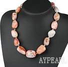 Classic Chunky 12*25Mm Fillet Bamboo Agate Tower Shape Necklace