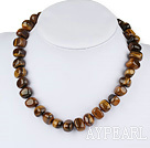 Wholesale 17 inches tiger's eye necklace with toggle clasp