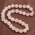 Classic Design 12mm Faceted Rose Quartz Beaded Necklace