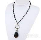 18 inches black agate necklace with lobster clasp