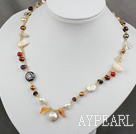 Wholesale hot irregular shape fresh water pearl crystal necklace