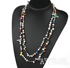 Wholesale fashion long style fresh water pearl and multi color stone necklace